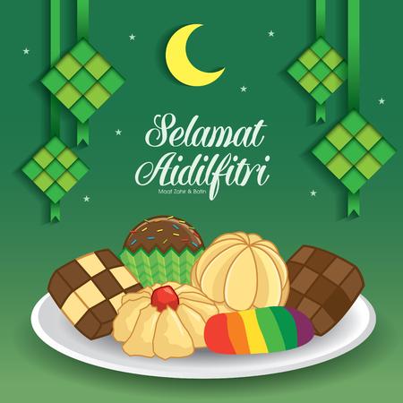 Selamat Hari Raya Aidilfitri vector illustration with traditional malay kuih raya & ketupat. Caption: Fasting Day of Celebration Illustration