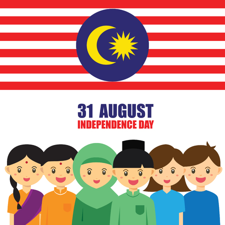 Malaysia National / Independence Day illustration. Cute cartoon character kids of Malay, Indian & Chinese hand in hand with Malaysia flag icon. 31 August, Merdeka. 일러스트