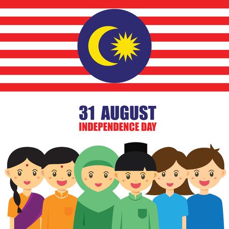 Ilustración del Día Nacional / Independencia de Malasia. Niños lindos del personaje de dibujos animados de Malay, indio y chino de la mano con el icono de la bandera de Malasia. 31 de agosto, Merdeka. Foto de archivo - 84222372