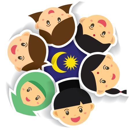 Ilustración del Día Nacional / Independencia de Malasia. Niños lindos del personaje de dibujos animados de Malay, indio y chino de la mano con el icono de la bandera de Malasia. 31 de agosto, Merdeka.