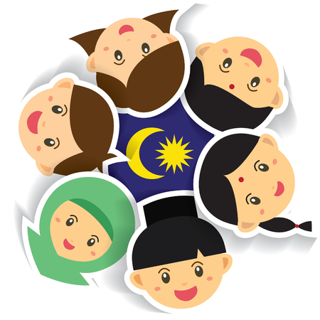 Malaysia National / Independence Day illustration. Cute cartoon character kids of Malay, Indian & Chinese hand in hand with Malaysia flag icon. 31 August, Merdeka. Иллюстрация