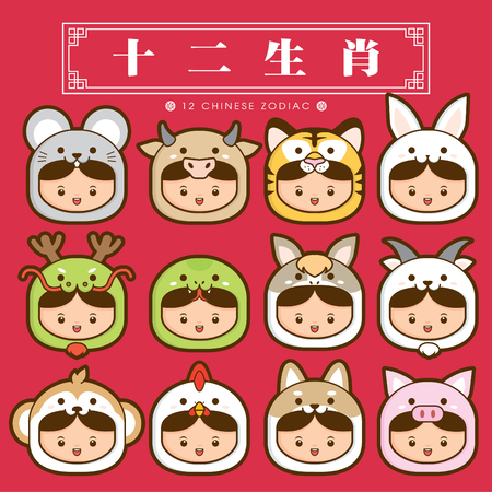 12 chinese zodiac, icon set (Chinese Translation: 12 Chinese zodiac signs: rat, ox, tiger, rabbit, dragon, snake, horse, sheep, monkey, rooster, dog and pig) Vectores