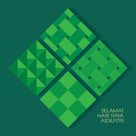 Selamat Hari Raya Aidilfitri vector illustration with ketupat with Islamic pattern as background. Caption: Fasting Day of Celebration