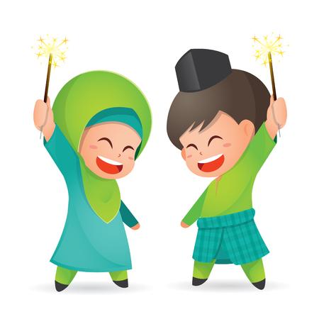 Selamat Hari Raya Aidilfitri vector illustration. Cute muslim kids having fun with sparklers