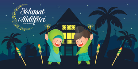 Selamat Hari Raya Aidilfitri vector illustration with cute muslim kids having fun with sparklers and traditional malay village house / Kampung and mosque. Caption: Fasting Day of Celebration