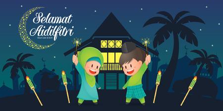 Illustration vectorielle de Selamat Hari Raya Aidilfitri avec des enfants musulmans mignons s'amusant avec des cierges magiques et maison de village traditionnelle malaise / Kampung et mosquée. Légende: Jour de célébration du jeûne Banque d'images - 102577062