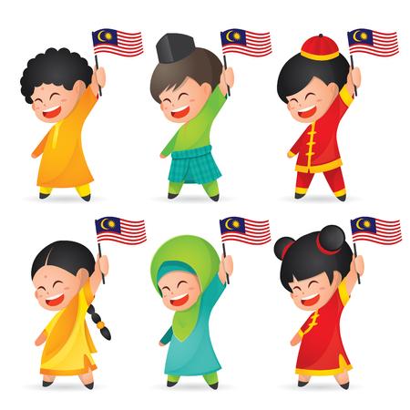 Illustrazione del giorno dell'indipendenza / nazionale della Malesia. Simpatico personaggio dei cartoni animati per bambini di malese, indiano e cinese che tiene bandiera della Malesia. 31 agosto, Merdeka.