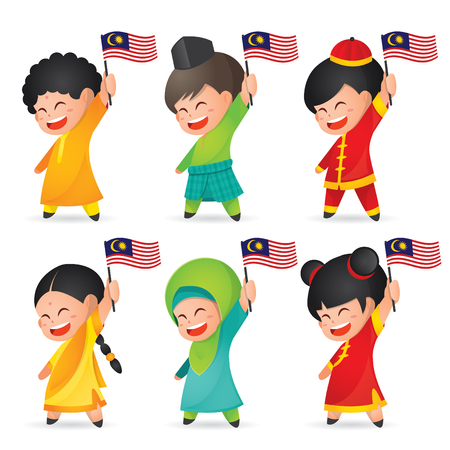 Ilustracja Malezja National / Independence Day. Śliczne dzieci z kreskówek z Malajów, Indii i Chin, trzymając flagę Malezji. 31 sierpnia, Merdeka.