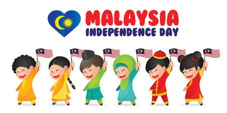 Malaysia National / Independence Day illustrazione. Simpatico personaggio dei cartoni animati per bambini di malese, indiano e cinese che tiene bandiera della Malesia 31 agosto, Merdeka.