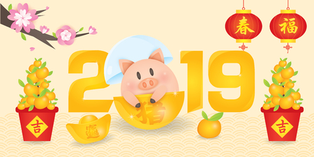 2019 Chinese New Year, Year of Pig Vector with cute piggy with gold ingots,  tangerine, lantern couplet and blossom tree.  (Translation: Auspicious Year of the pig)