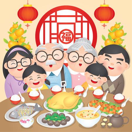 Ilustración de vector de cena de reunión familiar de año nuevo chino con platos deliciosos (Traducción: Nochevieja china, cena de reunión)