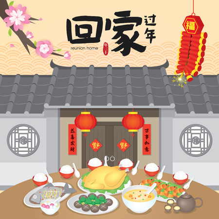 Chinese New Year Return Home Reunion Vector Illustration (Translation: Return Home Reunion for Chinese New Year) Standard-Bild - 114078818