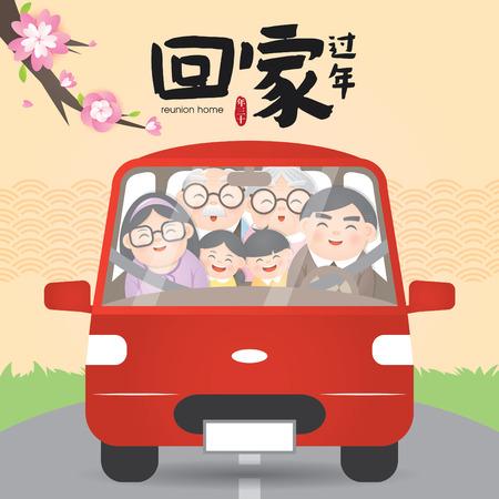 Ilustracja wektorowa zjazdu powrotnego do domu w chińskim Nowym Roku (Tłumaczenie: Zjazd powrotny do domu na chiński Nowy Rok) Ilustracje wektorowe