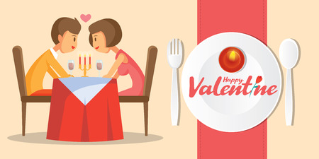 Valentines day romantic candle dinner with lovely couple vector illustration
