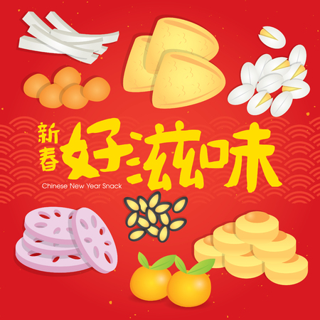 Chinese New Year snack plate include nuts, candies and cookies. (Translation: Chinese New Year delicious snack)
