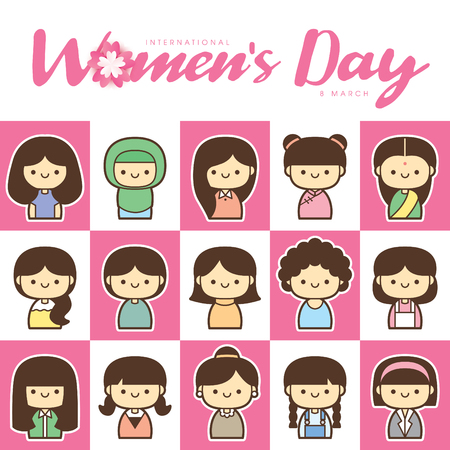 International Women's Day vector illustration with diverse group of women of different age, race and outfits.