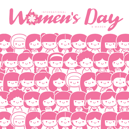 International Womens Day vector illustration with diverse group of women of different age, race and outfits.