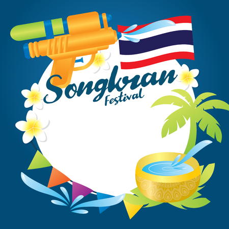 Songkran is a term derived from the Sanskrit word, and used to refer to the traditional New Year celebrated in Thailand, Laos, Cambodia, Myanmar, Sri Lanka vector illustration. Illustration