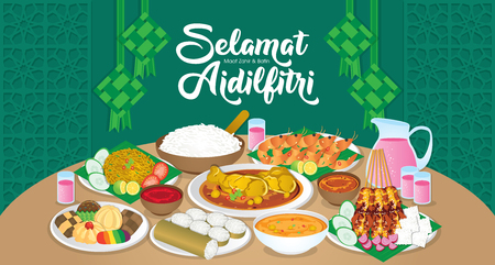 Iftar/Berbuka Puasa (or Fatoor) is the evening meal with which Muslims end their daily Ramadan fast at sunset.  (Caption: Hari Raya Aidilfitri also known as Eid al-Fitr) Çizim