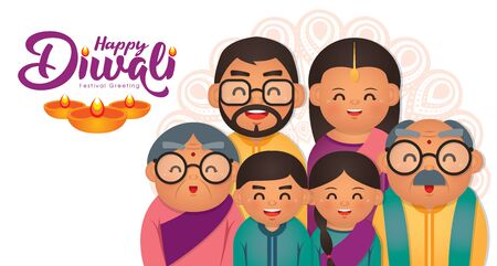 Diwali/Deepavali vector illustration with  Happy indian family celebrate the festival. Illustration