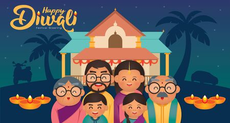 DiwaliDeepavali vector illustration with  Happy indian family celebrate the festival. Ilustracja