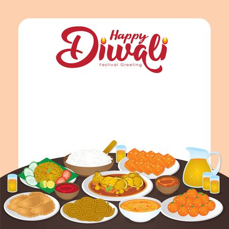 Diwali/Deepavali vector illustration with  Happy indian family enjoy the traditional festival foods/ meal (Murukku, Ladoo / Laddu, Curry, Curry Puff, Halwa and Rice)