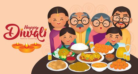 DiwaliDeepavali vector illustration with  Happy indian family enjoy the traditional festival foods meal (Murukku, Ladoo  Laddu, Curry, Curry Puff, Halwa and Rice) Ilustracja