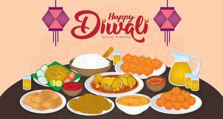 Diwali/Deepavali-Vektorillustration mit glücklicher indischer Familie genießen die traditionellen Festessen/Mahlzeiten (Murukku, Ladoo/Laddu, Curry, Curry Puff, Halwa und Rice) Vektorgrafik