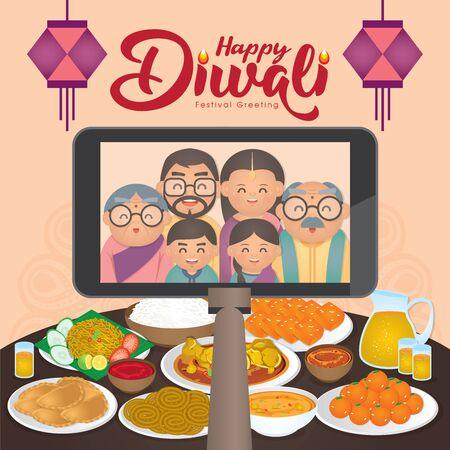 Diwali/Deepavali-Vektorillustration mit glücklicher indischer Familie genießen die traditionellen Festessen/Mahlzeiten (Murukku, Ladoo/Laddu, Curry, Curry Puff, Halwa und Rice)