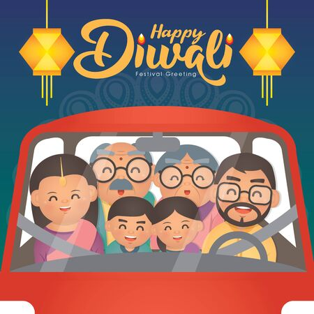 DiwaliDeepavali vector illustration with  Happy indian family riding car to home celebrate the festival.