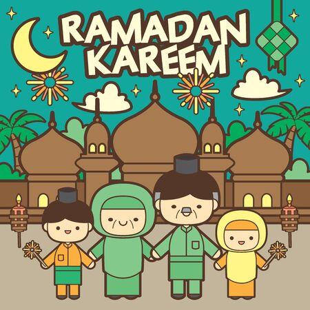 Ramadan kareem / Ramadan Mubarak greeting template with traditional mosque. (translation: May Ramadan be generous to you) Vetores