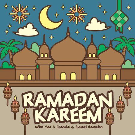 Ramadan kareem / Ramadan Mubarak greeting template with traditional mosque. (translation: May Ramadan be generous to you)