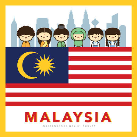 Malaysia National / Independence Day illustration with 3 race cute character Malay, Indian & Chinese kids. 31 August, Merdeka. Vetores