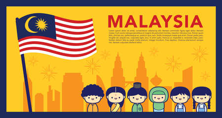Malaysia National / Independence Day illustration with 3 race cute character Malay, Indian & Chinese kids. 31 August, Merdeka.