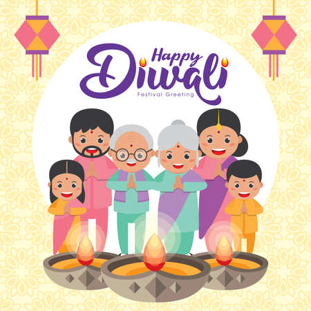 Diwali or deepavali - festival of lights greeting card with cute cartoon Indian family with kandil (india lantern) & diya (oil lamp) in flat vector illustration.