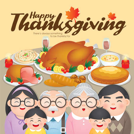 Thanksgiving & Christmas dinner greeting card with happy family reunion to celebrating Thanksgiving day and enjoy the turkey and other delicious meal.