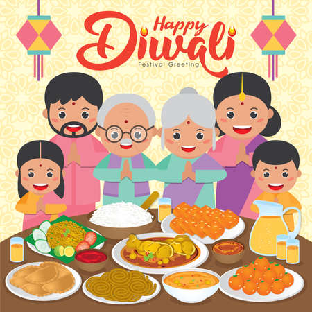 Diwali / Deepavali vector illustration with Indian family reunion dinner to enjoy the traditional festival foods/ meal (Murukku, Ladoo / Laddu, Curry, Curry Puff, Halwa and Rice)