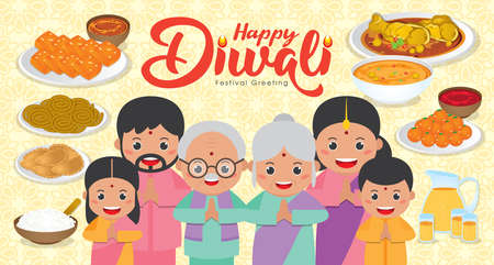 Diwali / Deepavali Banner illustration with Happy indian family reunion dinner to enjoy the traditional festival foods/ meal (Murukku, Ladoo / Laddu, Curry, Curry Puff, Halwa and Rice)