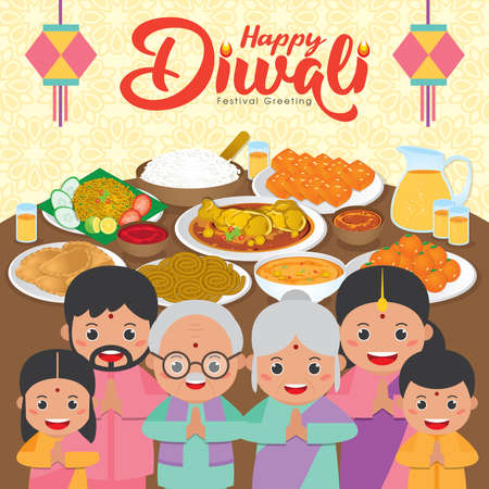 Diwali / Deepavali greeting card with Happy indian family reunion dinner to enjoy the traditional festival foods/ meal (Murukku, Ladoo / Laddu, Curry, Curry Puff, Halwa and Rice)