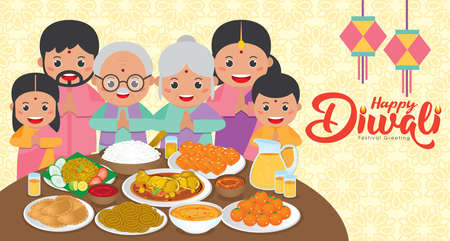 Diwali / Deepavali vector illustration with Happy indian family reunion dinner to enjoy the traditional festival foods/ meal (Murukku, Ladoo / Laddu, Curry, Curry Puff, Halwa and Rice)