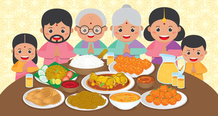 Diwali / Deepavali Banner template with Indian family reunion dinner to enjoy the traditional festival foods/ meal (Murukku, Ladoo / Laddu, Curry, Curry Puff, Halwa and Rice)