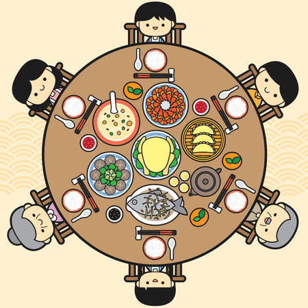 Chinese New Year Eve, Family Reunion Dinner Vector Illustration with delicious dishes in round table.