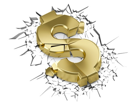 correlation: Glossy golden dollar crashed after fall on the ground Stock Photo
