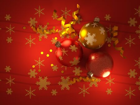 Christmas balls on red paper photo