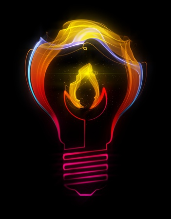 Light bulb with flame made up of abstract energy photo