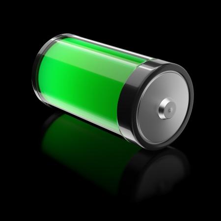 pila: Batería llena de eco-energía Foto de archivo