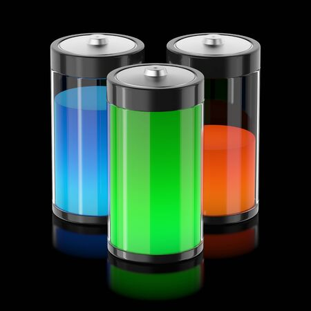 Batterys filled with different types of energy photo
