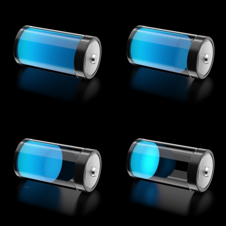 low glass: 3D Battery with 4 states of charge level