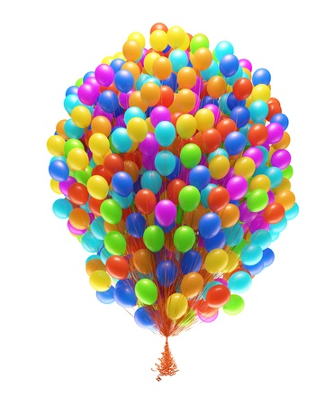 balloons party: Big bunch of party balloons  Isolated on white background