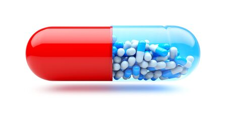 Big capsule with small capsules  Medicines concept  photo